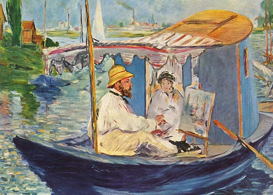 Claude Monet peignant dans son atelier (1874)